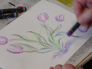 Crayon based artwork inspired by tulips